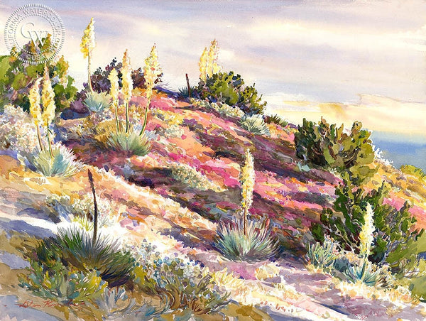 Yucca's and Turkish Rugging, Early Morning, California art by Glen Knowles. HD giclee art prints for sale at CaliforniaWatercolor.com - original California paintings, & premium giclee prints for sale