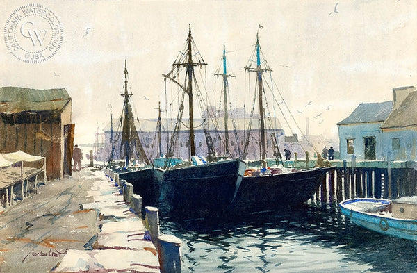 Sunday in Dock, California art by Gordon Grant. HD giclee art prints for sale at CaliforniaWatercolor.com - original California paintings, & premium giclee prints for sale