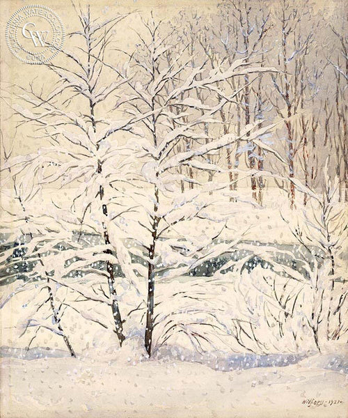 Winter Wonderland, 1921, California art by Gunnar Widforss. HD giclee art prints for sale at CaliforniaWatercolor.com - original California paintings, & premium giclee prints for sale