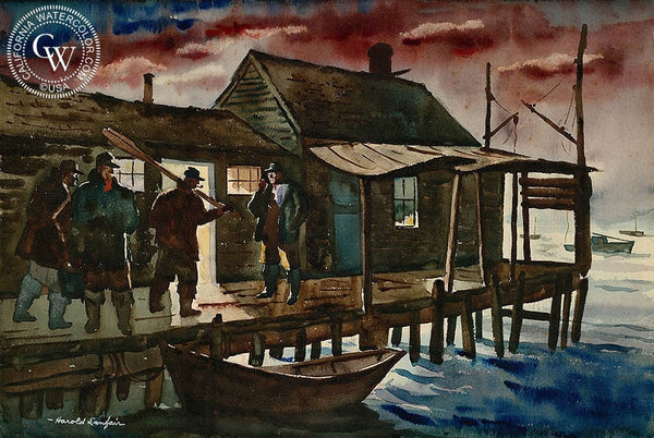"At the Dock, c. 1930's, California art by Harold ""Hal"" Lanfair. HD giclee art prints for sale at CaliforniaWatercolor.com - original California paintings, & premium giclee prints for sale"