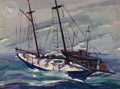 "Heeled to Starboard, California art by Harold ""Hal"" Lanfair. HD giclee art prints for sale at CaliforniaWatercolor.com - original California paintings, & premium giclee prints for sale"