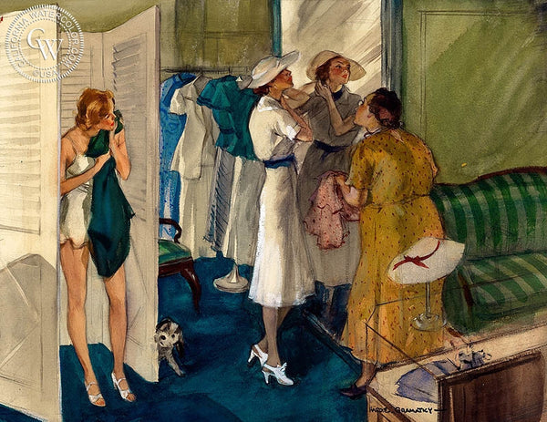 A New Dress, c. 1930's, California art by Hardie Gramatky. HD giclee art prints for sale at CaliforniaWatercolor.com - original California paintings, & premium giclee prints for sale