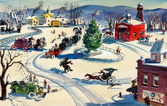 An Old-Fashioned Christmas, (Westport), 1940, California art by Hardie Gramatky. HD giclee art prints for sale at CaliforniaWatercolor.com - original California paintings, & premium giclee prints for sale