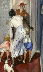 Answering the Door, c. 1930's, California art by Hardie Gramatky. HD giclee art prints for sale at CaliforniaWatercolor.com - original California paintings, & premium giclee prints for sale