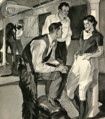 At the Stable, 1938, California art by Hardie Gramatky. HD giclee art prints for sale at CaliforniaWatercolor.com - original California paintings, & premium giclee prints for sale