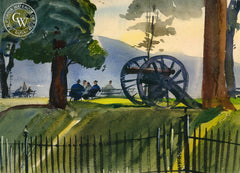 Battlefield, Gettysburg, 1947, California art by Hardie Gramatky. HD giclee art prints for sale at CaliforniaWatercolor.com - original California paintings, & premium giclee prints for sale
