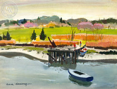 Boats at Low Tide, (Westport), 1958, California art by Hardie Gramatky. HD giclee art prints for sale at CaliforniaWatercolor.com - original California paintings, & premium giclee prints for sale