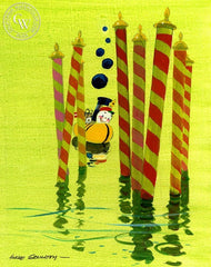 Little Toot with Candystick Canes, 1968, California art by Hardie Gramatky. HD giclee art prints for sale at CaliforniaWatercolor.com - original California paintings, & premium giclee prints for sale