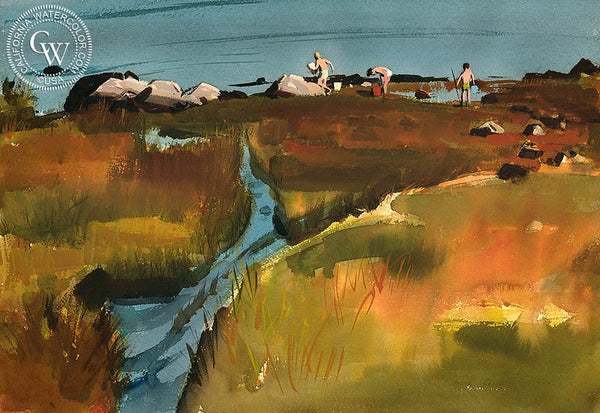 Compo Marsh, Three Pals, (Westport), 1971, California art by Hardie Gramatky. HD giclee art prints for sale at CaliforniaWatercolor.com - original California paintings, & premium giclee prints for sale