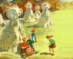 Cornstalks and Pumpkins, 1952, California art by Hardie Gramatky, the front cover illustration for Reader's Digest, 1952. HD giclee art prints for sale at CaliforniaWatercolor.com - original California paintings, & premium giclee prints for sale