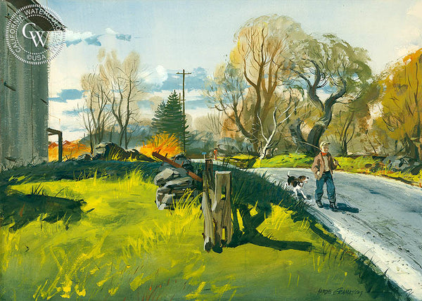 Country Road, (Westport), c. 1950's, California art by Hardie Gramatky. HD giclee art prints for sale at CaliforniaWatercolor.com - original California paintings, & premium giclee prints for sale