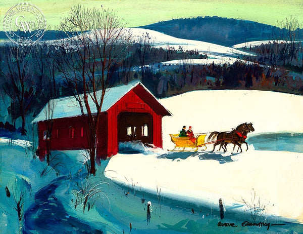 Covered Bridge and Sleigh, 1964, California art by Hardie Gramatky. HD giclee art prints for sale at CaliforniaWatercolor.com - original California paintings, & premium giclee prints for sale
