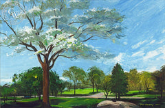 Dogwood in the Park, (Westport), 1966, California art by Hardie Gramatky. HD giclee art prints for sale at CaliforniaWatercolor.com - original California paintings, & premium giclee prints for sale