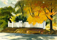 Fence in Westport, 1958, California art by Hardie Gramatky. HD giclee art prints for sale at CaliforniaWatercolor.com - original California paintings, & premium giclee prints for sale