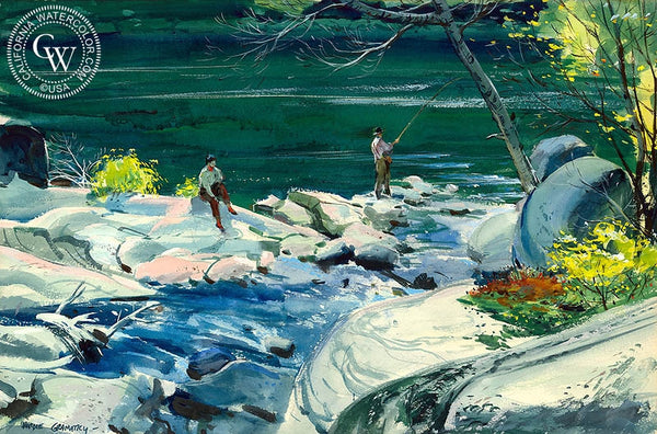 Fishing in Canada, 1949, California art by Hardie Gramatky. HD giclee art prints for sale at CaliforniaWatercolor.com - original California paintings, & premium giclee prints for sale