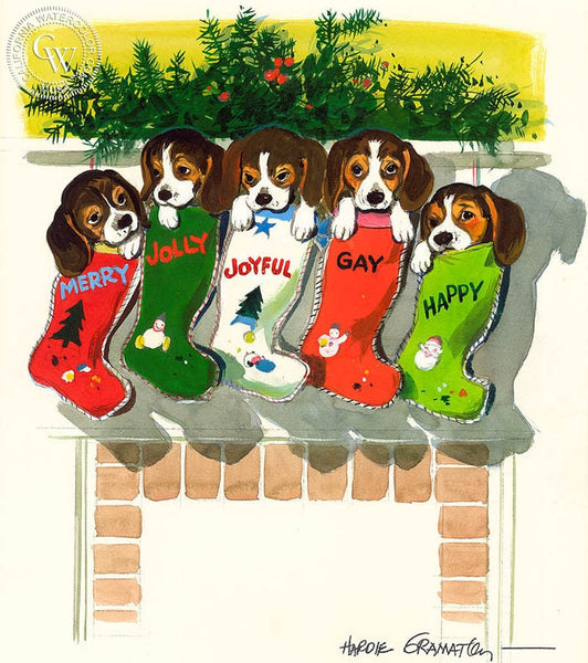 Five Puppies in Christmas Stockings, 1970, California art by Hardie Gramatky. HD giclee art prints for sale at CaliforniaWatercolor.com - original California paintings, & premium giclee prints for sale