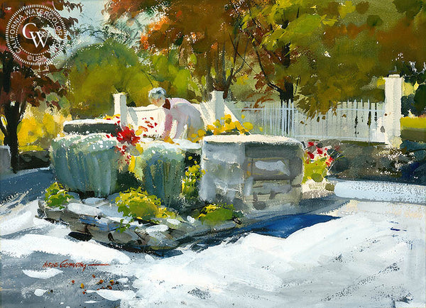 Garden, 1977, California art by Hardie Gramatky. HD giclee art prints for sale at CaliforniaWatercolor.com - original California paintings, & premium giclee prints for sale