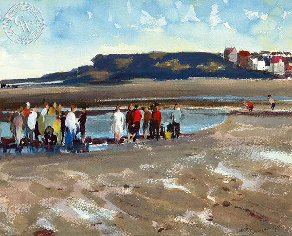 Gathering at Low Tide, 1977, California art by Hardie Gramatky. HD giclee art prints for sale at CaliforniaWatercolor.com - original California paintings, & premium giclee prints for sale