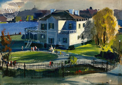 Gracie Mansion, 1941, California art by Hardie Gramatky. HD giclee art prints for sale at CaliforniaWatercolor.com - original California paintings, & premium giclee prints for sale