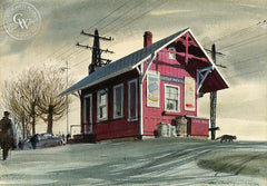 Greens Farms Station, (Westport), 1948, California art by Hardie Gramatky. HD giclee art prints for sale at CaliforniaWatercolor.com - original California paintings, & premium giclee prints for sale