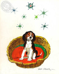 Happy Beagle in the Basket, 1970, California art by Hardie Gramatky. HD giclee art prints for sale at CaliforniaWatercolor.com - original California paintings, & premium giclee prints for sale