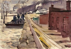 Hickman Levee Workers, 1937, California watercolor art by Hardie Gramatky. HD giclee art prints for sale at CaliforniaWatercolor.com - original California paintings, & premium giclee prints for sale
