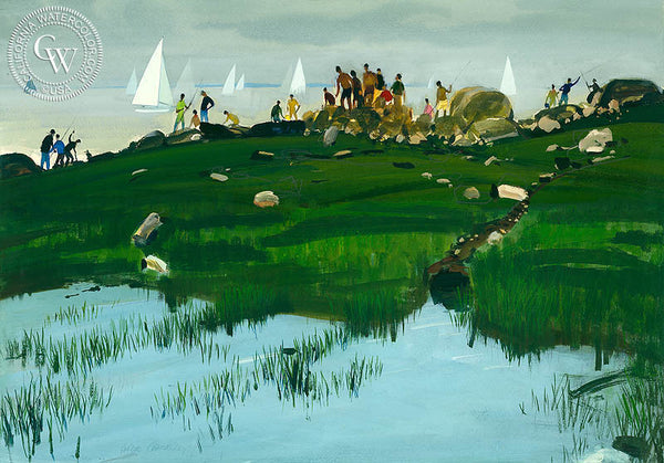 Holiday, (Westport), 1976, California art by Hardie Gramatky. HD giclee art prints for sale at CaliforniaWatercolor.com - original California paintings, & premium giclee prints for sale