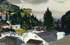 Hollywood Hills, 1945, a California watercolor painting by Hardie Gramatky. HD giclee art prints for sale at CaliforniaWatercolor.com - original California paintings, & premium giclee prints for sale