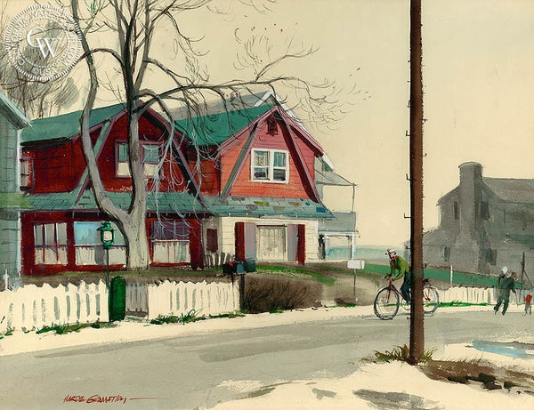 Houses at Old Mill Beach, (Westport), 1954, California art by Hardie Gramatky. HD giclee art prints for sale at CaliforniaWatercolor.com - original California paintings, & premium giclee prints for sale