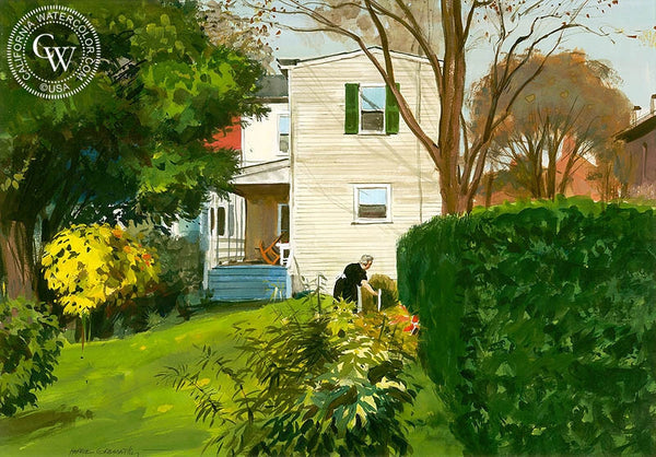 House in New Castle, 1962, California art by Hardie Gramatky. HD giclee art prints for sale at CaliforniaWatercolor.com - original California paintings, & premium giclee prints for sale