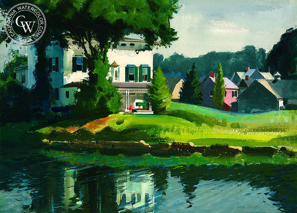 House on Gorham Island, (Westport), 1974, California art by Hardie Gramatky. HD giclee art prints for sale at CaliforniaWatercolor.com - original California paintings, & premium giclee prints for sale