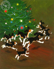 Joyful Beagles around the Tree, 1970, California art by Hardie Gramatky. HD giclee art prints for sale at CaliforniaWatercolor.com - original California paintings, & premium giclee prints for sale
