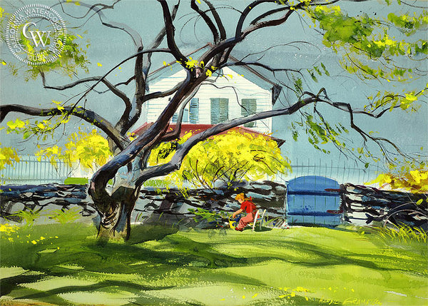 Linda in Front Yard, (Westport), 1947, a fine art painting by Hardie Gramatky. HD giclee art prints for sale at CaliforniaWatercolor.com - original California paintings, & premium giclee prints for sale