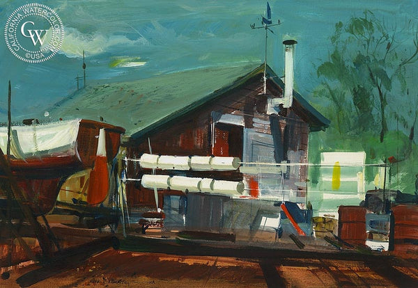 Little Shipyard, (Westport), 1967, California art by Hardie Gramatky. HD giclee art prints for sale at CaliforniaWatercolor.com - original California paintings, & premium giclee prints for sale