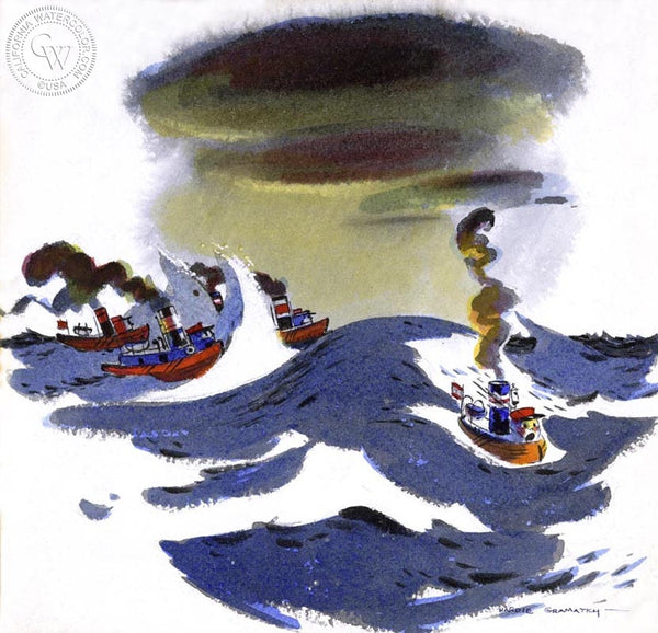 Little Toot Tries to Stay Afloat, 1939, California art by Hardie Gramatky. HD giclee art prints for sale at CaliforniaWatercolor.com - original California paintings, & premium giclee prints for sale