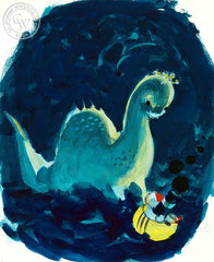 Little Toot and the Loch Ness Monster, 1978, California art by Hardie Gramatky. HD giclee art prints for sale at CaliforniaWatercolor.com - original California paintings, & premium giclee prints for sale