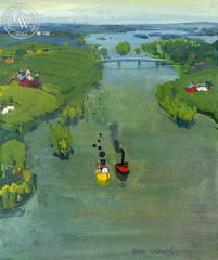 Little Toot and the Mississippi, 1973, California art by Hardie Gramatky. HD giclee art prints for sale at CaliforniaWatercolor.com - original California paintings, & premium giclee prints for sale
