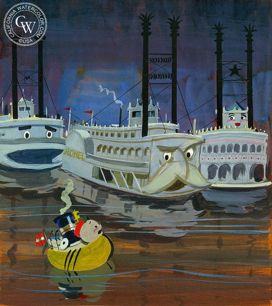 Little Toot on the Mississippi 2, 1973, California art by Hardie Gramatky. HD giclee art prints for sale at CaliforniaWatercolor.com - original California paintings, & premium giclee prints for sale