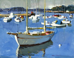 Minuteman Marina, (Westport), 1977, California art by Hardie Gramatky. HD giclee art prints for sale at CaliforniaWatercolor.com - original California paintings, & premium giclee prints for sale