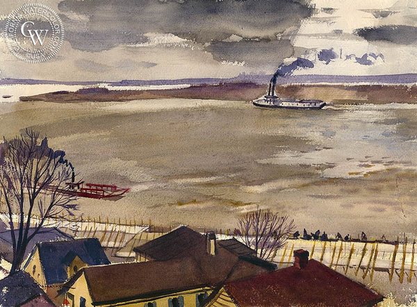 Muddy, Turbulent Mississippi, 1937, California art by Hardie Gramatky. HD giclee art prints for sale at CaliforniaWatercolor.com - original California paintings, & premium giclee prints for sale