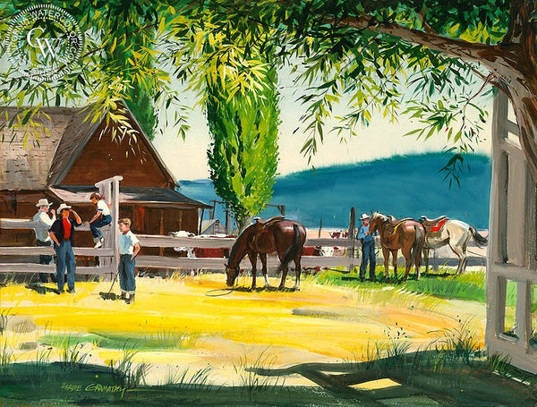 Oregon Ranch in Summer, 1951, California art by Hardie Gramatky. HD giclee art prints for sale at CaliforniaWatercolor.com - original California paintings, & premium giclee prints for sale
