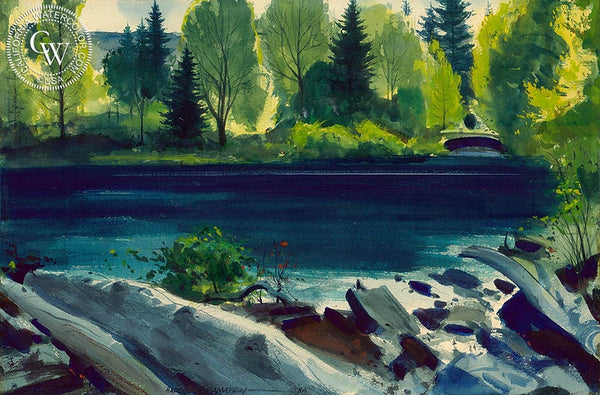 Quiet Pond, 1951, California art by Hardie Gramatky. HD giclee art prints for sale at CaliforniaWatercolor.com - original California paintings, & premium giclee prints for sale