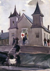 Refuge (Red Cross), 1937, California art by Hardie Gramatky. HD giclee art prints for sale at CaliforniaWatercolor.com - original California paintings, & premium giclee prints for sale