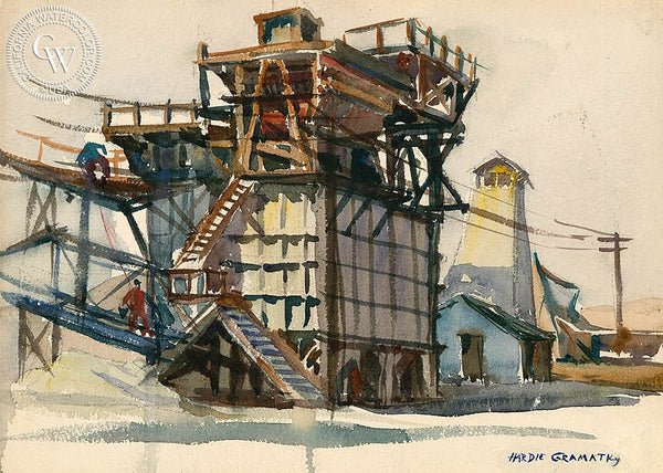 Rock Crusher, California art by Hardie Gramatky. HD giclee art prints for sale at CaliforniaWatercolor.com - original California paintings, & premium giclee prints for sale