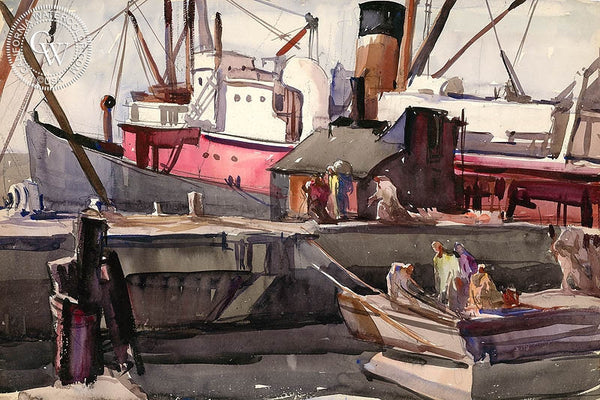 San Pedro Harbor, 1931, California art by Hardie Gramatky. HD giclee art prints for sale at CaliforniaWatercolor.com - original California paintings, & premium giclee prints for sale