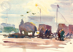 Setting up the Circus, 1928, California art by Hardie Gramatky. HD giclee art prints for sale at CaliforniaWatercolor.com - original California paintings, & premium giclee prints for sale
