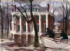 Southern Home in Flood, 1938, California art by Hardie Gramatky. HD giclee art prints for sale at CaliforniaWatercolor.com - original California paintings, & premium giclee prints for sale