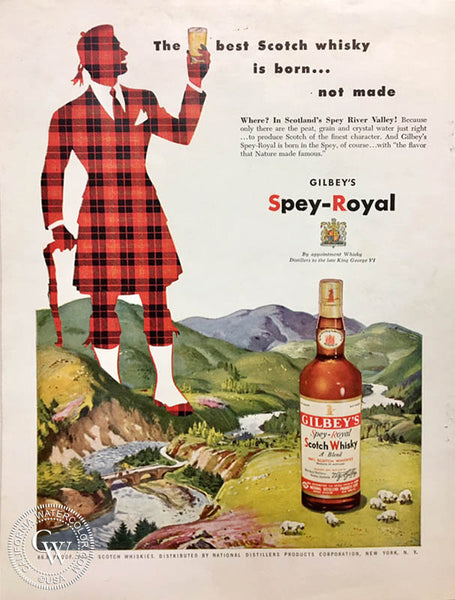 Hardie Gramatky, this watercolor painting was used in a 1950s advertisement for GILBEY's Spey-Royal scotch whisky. California watercolor.com