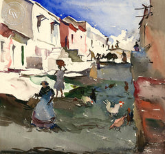 Street Scene in Mazatlan, 1929, California art by Hardie Gramatky. HD giclee art prints for sale at CaliforniaWatercolor.com - original California paintings, & premium giclee prints for sale