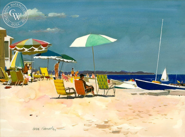 Summer at Hawk's Nest, (Westport), 1974, California art by Hardie Gramatky. HD giclee art prints for sale at CaliforniaWatercolor.com - original California paintings, & premium giclee prints for sale